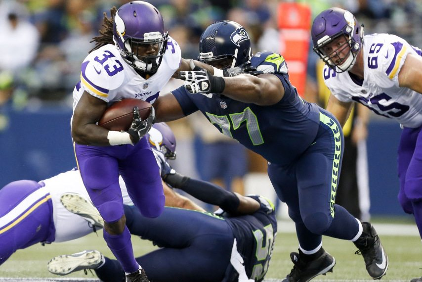 Dalvin Cook of the Minnesota Vikings at the Seattle Seahawks