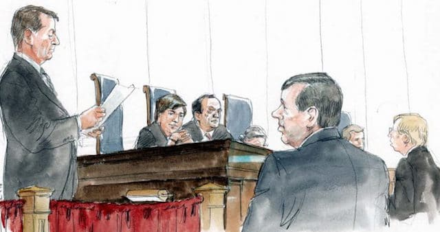 A sketch showing the bench during Christie v NCAA