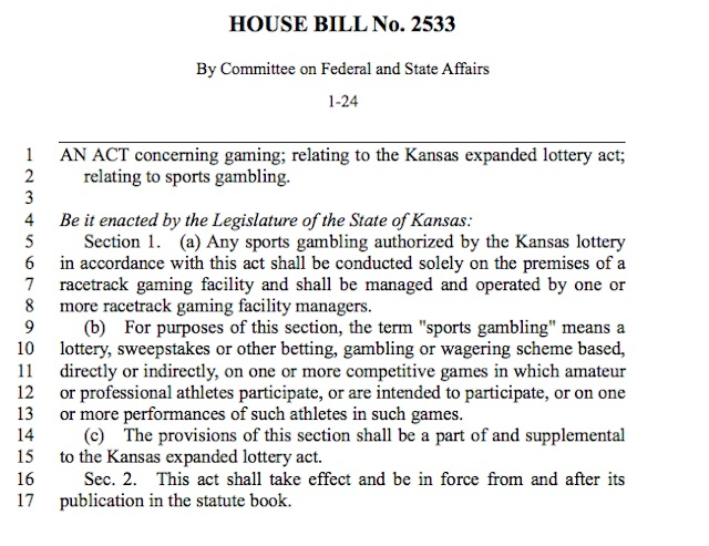 Kansas Sports Betting Bill Would Legalize Wagering at Not-Currently-Operating Racetracks, While Another Bill Would Help Racetracks Return