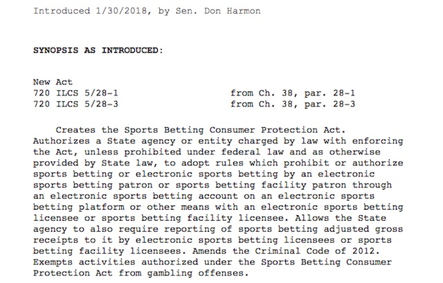 Illinois Senator Don Harmon Introduces SB2478 to Move State Toward Legal Sports Betting Online and in Land-Based Casinos; Major Stakeholders Involved