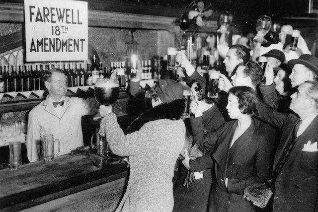 New Yorkers celebrate the end of the 18th Amendment. (Getty Images)