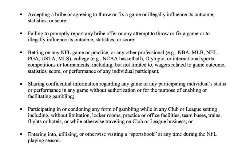 nfl betting policy gambling sportsbooks rules