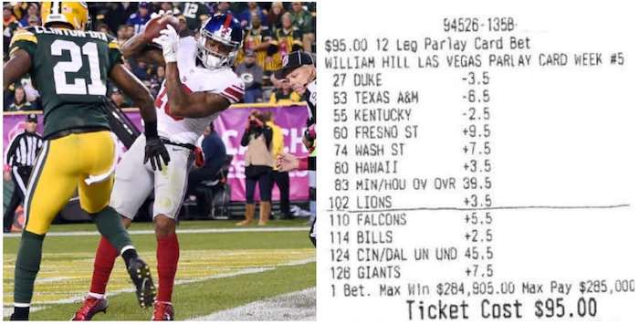 NFL parlay bets and parlay tickets that have cashed for a lot of money