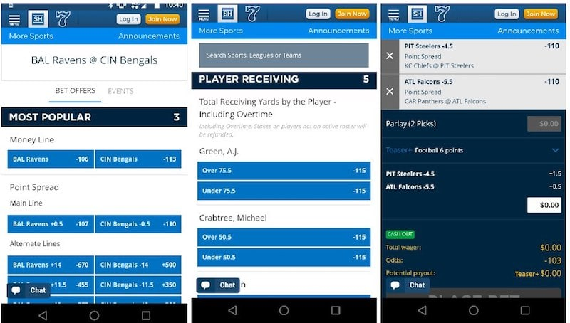 SugarHouse online sportsbook mobile app screens review