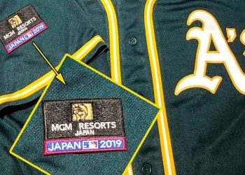 Patches worn by the A's during the MLB's 2019 series in Japan