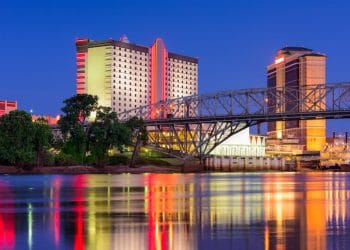 Shreveport, Louisiana downtown skyline on the Red River.