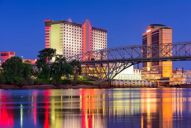 Shreveport, Louisiana downtown skyline on the Red River.