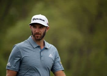 May 19, 2019; Bethpage, NY, USA; Dustin Johnson reacts after his shot from the sixth tee during the final round of the PGA Championship golf tournament at Bethpage State Park - Black Course. Mandatory Credit: Peter Casey-USA TODAY Sports