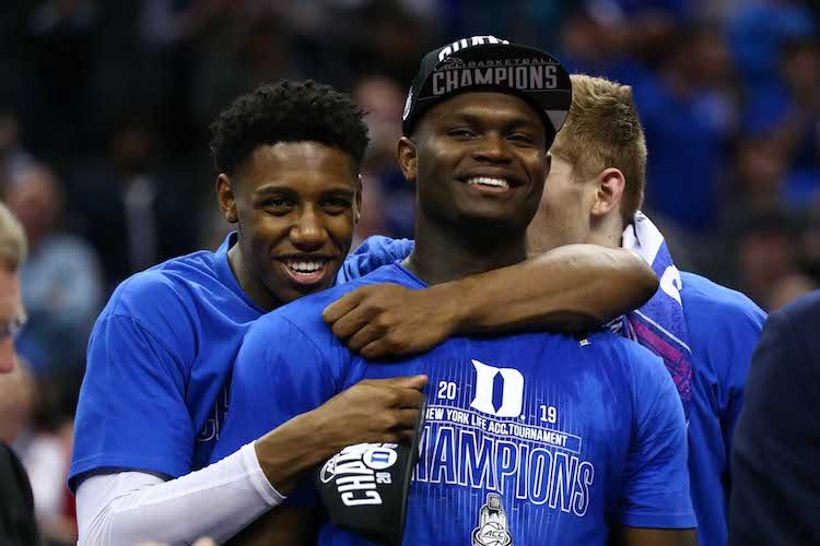 RJ Barrett (L) and forward Zion Williamson (R) after defeating the Florida State Seminoles in the 2019 ACC conference tournament at Spectrum Center. (Jeremy Brevard-USA TODAY Sports)