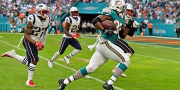 Dec 9, 2018; Miami Gardens, FL, USA; Miami Dolphins running back Kenyan Drake (32) runs the ball for a walk off touchdown against the New England Patriots during the second half at Hard Rock Stadium. Mandatory Credit: Jasen Vinlove-USA TODAY Sports