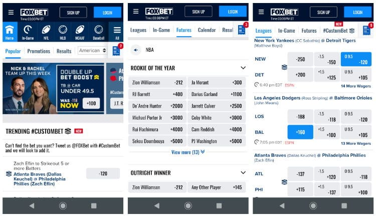 FOX Bet's well-designed mobile interface