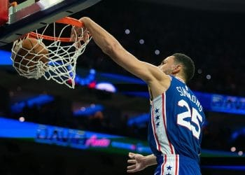Oct 23, 2019; Philadelphia, PA, USA; Philadelphia 76ers guard Ben Simmons (25) dunks against the Boston Celtics during the second quarter at Wells Fargo Center. Mandatory Credit: Bill Streicher-USA TODAY Sports
