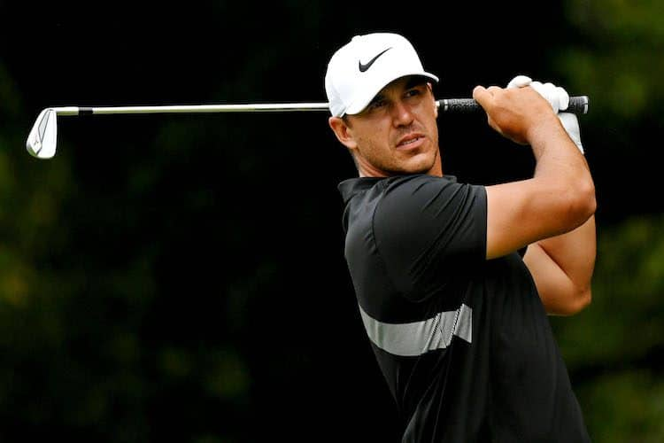 Aug 25, 2019; Atlanta, GA, USA; Brooks Koepka plays his shot from the second tee during the final round of the Tour Championship golf tournament at East Lake Golf Club. (Adam Hagy-USA TODAY Sports)