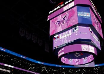 Nov 23, 2019; Washington, DC, USA; A general view as part of Hockey Fights Cancer day prior to the game between the Washington Capitals and the Vancouver Canucks at Capital One Arena. Mandatory Credit: Geoff Burke-USA TODAY Sports
