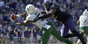 Nov 9, 2019; Fort Worth, TX, USA; (Editors Notes: Caption Correction) Baylor Bears wide receiver Denzel Mims (5) catches a pass against TCU Horned Frogs cornerback Jeff Gladney (12) in overtime at Amon G. Carter Stadium. Baylor won 29-23 in triple overtime.  Mandatory Credit: Kirby Lee-USA TODAY Sports