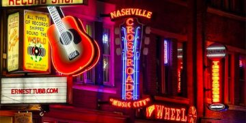 Neon signs at night along Broadway Street in Nashville, TN (Shutterstock)