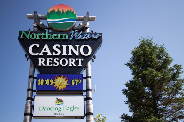 Sign for the Northern Waters Tribal Casino and resort in the Upper Peninsula of Michigan. The casino resort is owned by the Lake Superior Tribe of Chippewa (Shutterstock)