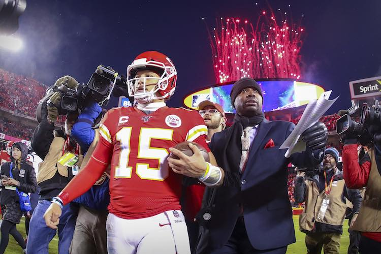 Jan 12, 2020; Kansas City, MO, USA; Kansas City Chiefs quarterback Patrick Mahomes (15) leaves the field after the win over the Houston Texans in a AFC Divisional Round playoff football game at Arrowhead Stadium.  Mandatory Credit: Jay Biggerstaff-USA TODAY Sports