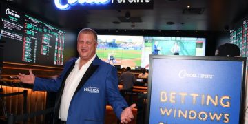 Derek Stevens at the Circa Sportsbook opening in 2019