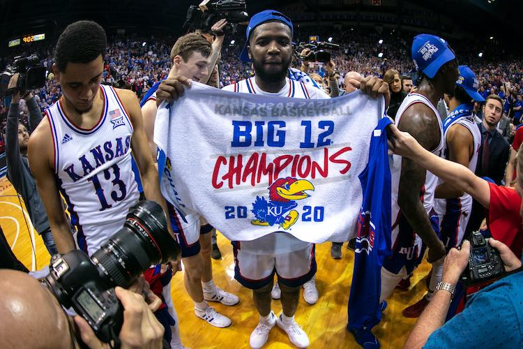 Mar 4, 2020: The Kansas Jayhawks celebrate the Big 12 Championship after a game against the TCU Horned Frogs at Allen Fieldhouse. (William Purnell-USA TODAY Sports)