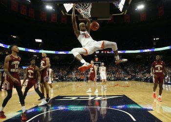Feb 19, 2020; Virginia Cavaliers forward Mamadi Diakite (25) dunks the ball against the Boston College Eagles (Geoff Burke-USA TODAY Sports)