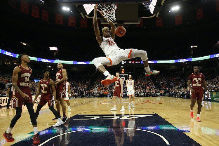 Feb 19, 2020; Virginia Cavaliers forward Mamadi Diakite (25) dunks the ball against the Boston College Eagles (Geoff Burke-USA TODAY Sports)