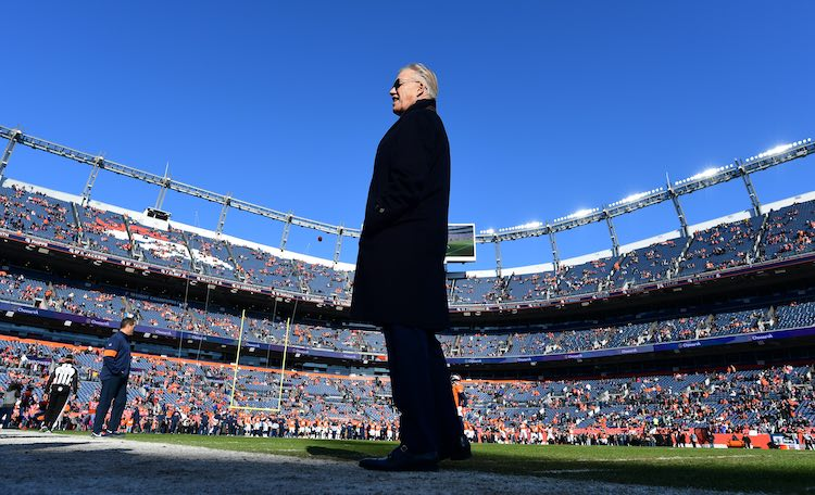 Dec 29, 2019; Denver, Colorado, USA; Denver Broncos general manager John Elway before the game against the Oakland Raiders at Empower Field at Mile High. Mandatory Credit: Ron Chenoy-USA TODAY Sports