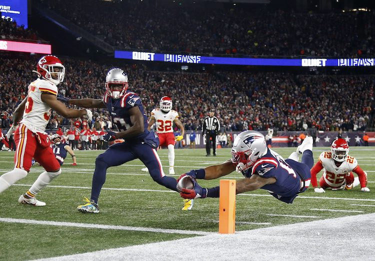 Dec 8, 2019; Foxborough, MA, USA; New England Patriots wide receiver N'Keal Harry (15) was called out of bounds before diving into the end zone during the second half against the Kansas City Chiefs at Gillette Stadium. Mandatory Credit: Winslow Townson-USA TODAY Sports