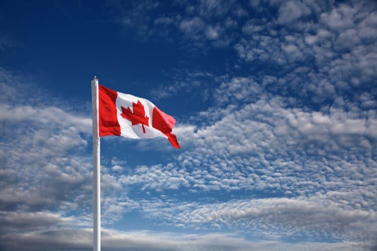 canadian flag sky